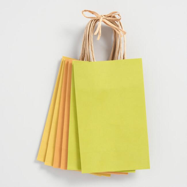 Small Green and Gold Kraft Gift Bags 6 Count