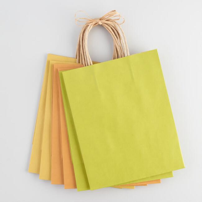 Medium Green and Gold Kraft Gift Bags 6 Count