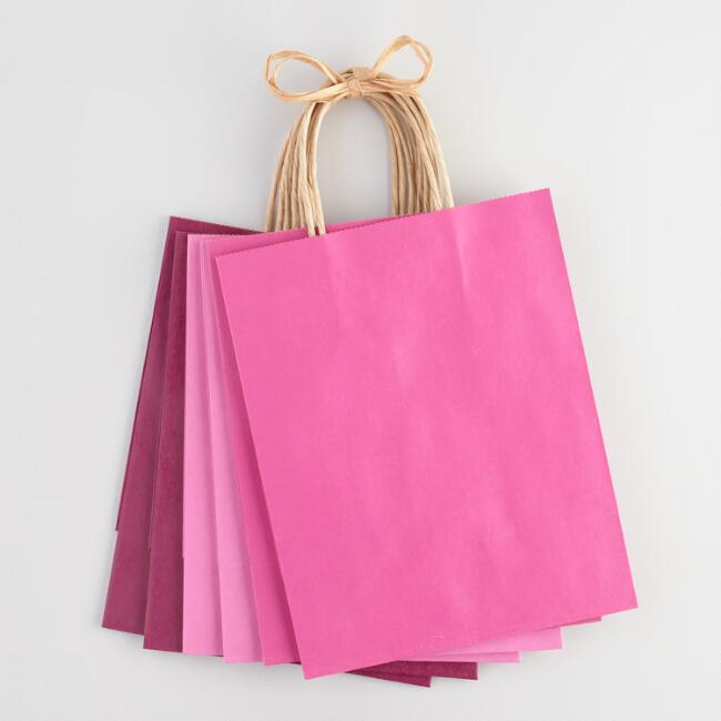 Medium Pink Kraft Gift Bags Set of 6