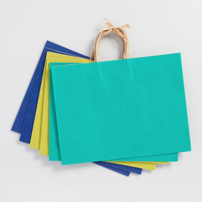 Large Blue and Green Kraft Gift Bags 6 Count