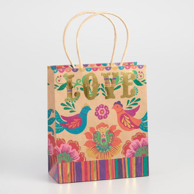 Medium Boho Live Love Laugh Kraft Gift Bag