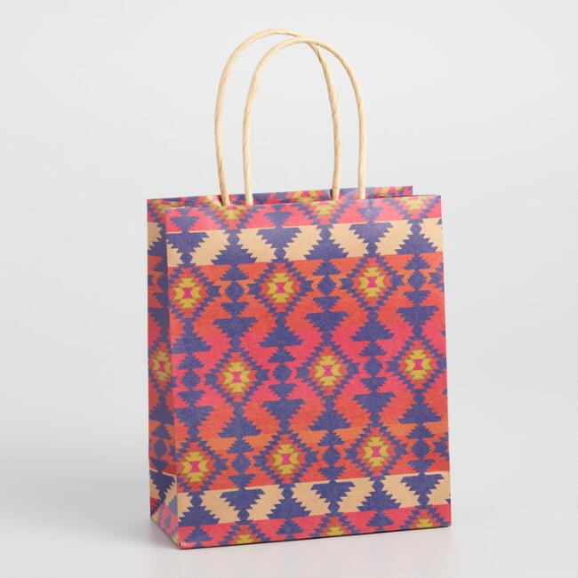 Medium Boho Southwestern Pattern Kraft Gift Bag