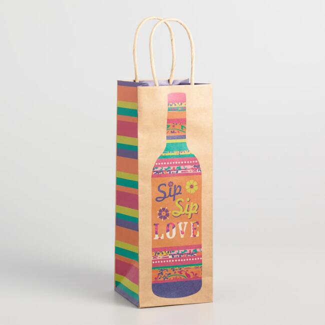 Boho Sip Sip Love Kraft Wine Bag Set of 2
