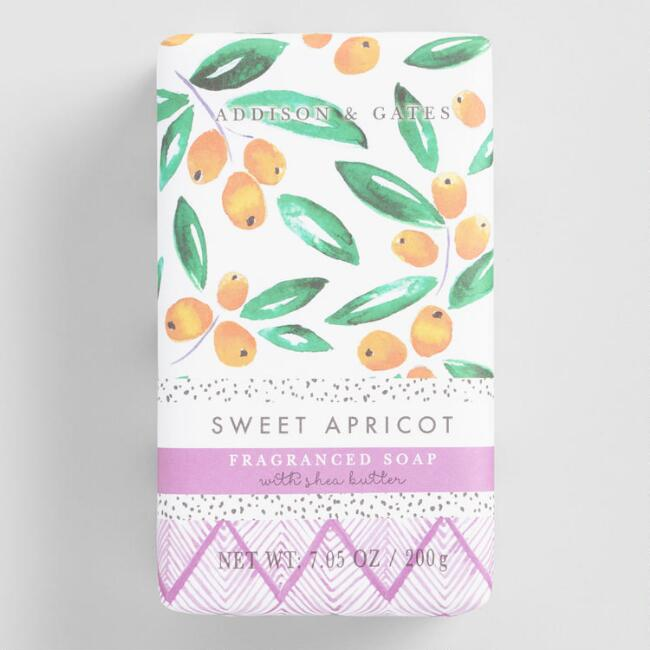 A&G Watercolor Produce Sweet Apricot Bar Soap Set of 2