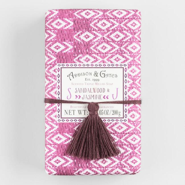 A&G Tassel Sandalwood and Jasmine Bar Soap Set of 2