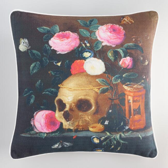 Halloween Printed Skull and Roses Throw Pillow