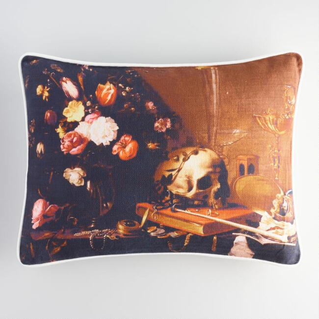 Halloween Skull Still Life Lumbar Pillow
