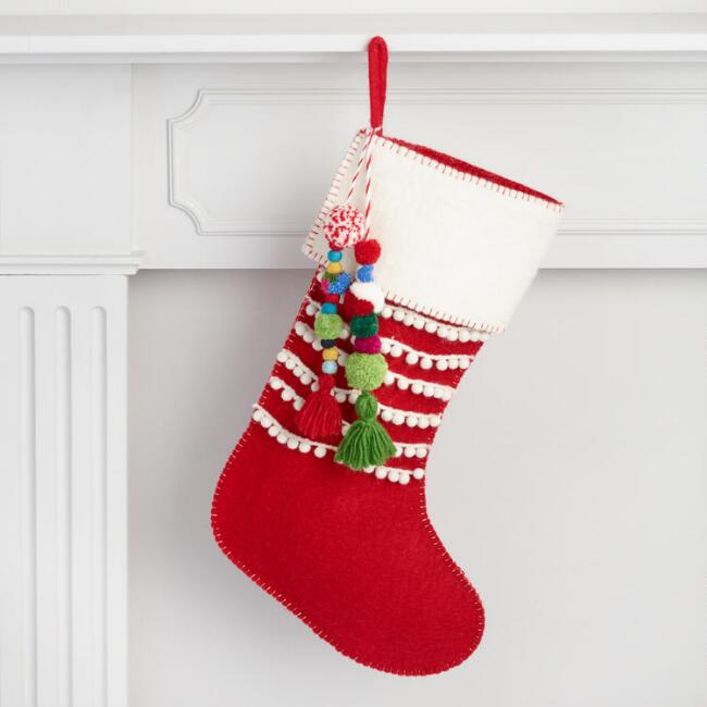 World Market Lately: Red Felt Stocking With Tassels By World Market