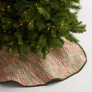 red and green chevron weave tree skirt - Christmas Tree Skirts