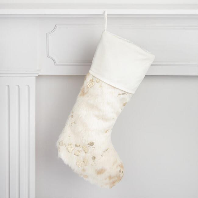 Faux Cowhide Splattered Stocking