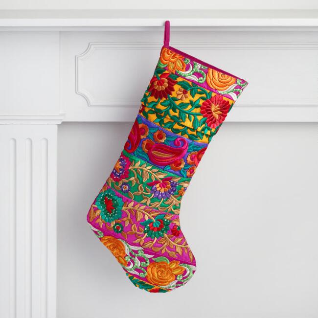Multicolor Floral Embroidered Stocking