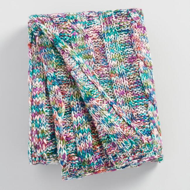 Multicolor Knit Throw Blanket