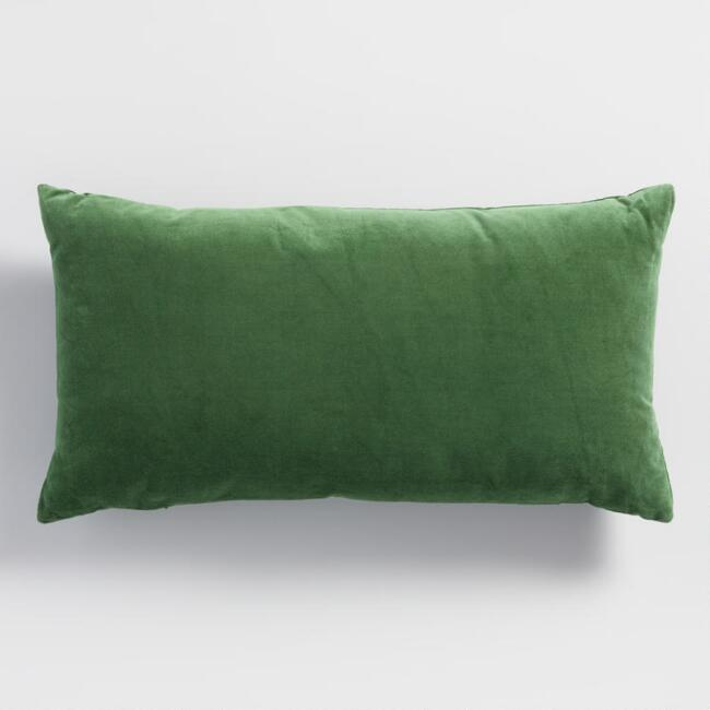 Green Velvet Lumbar Pillow World Market