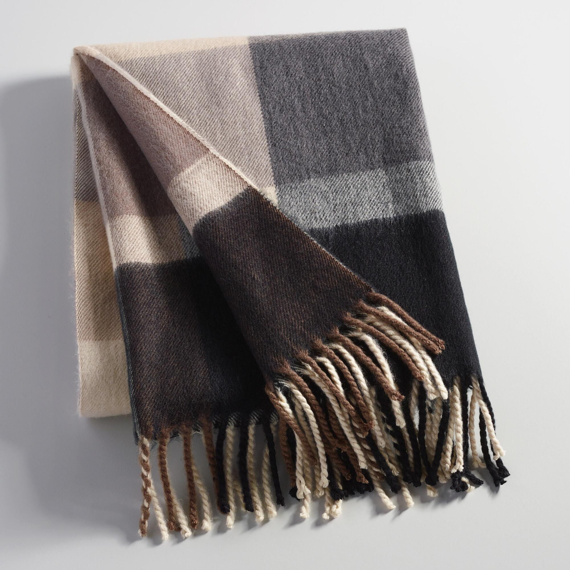 Black and Gray Plaid Throw Blanket - Acrylic by World Market