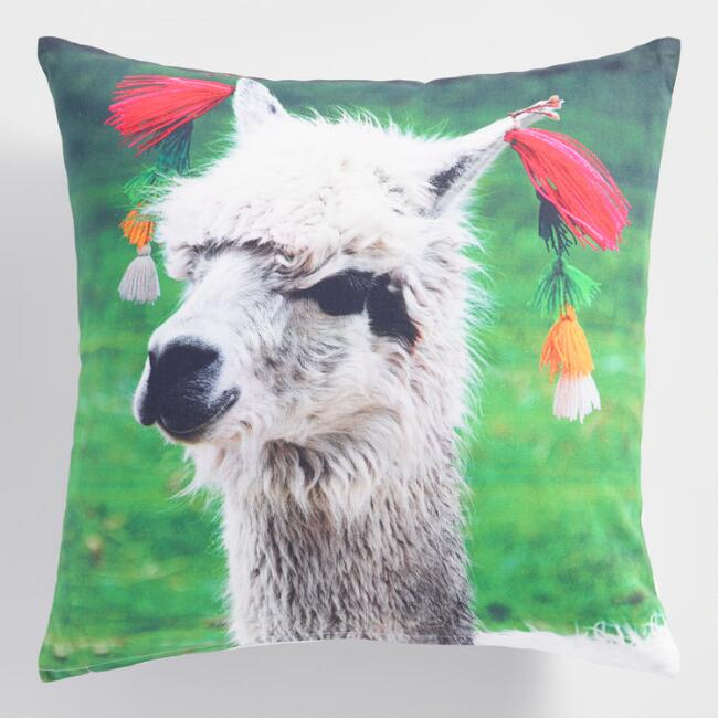 Printed Peruvian Llama Throw Pillow