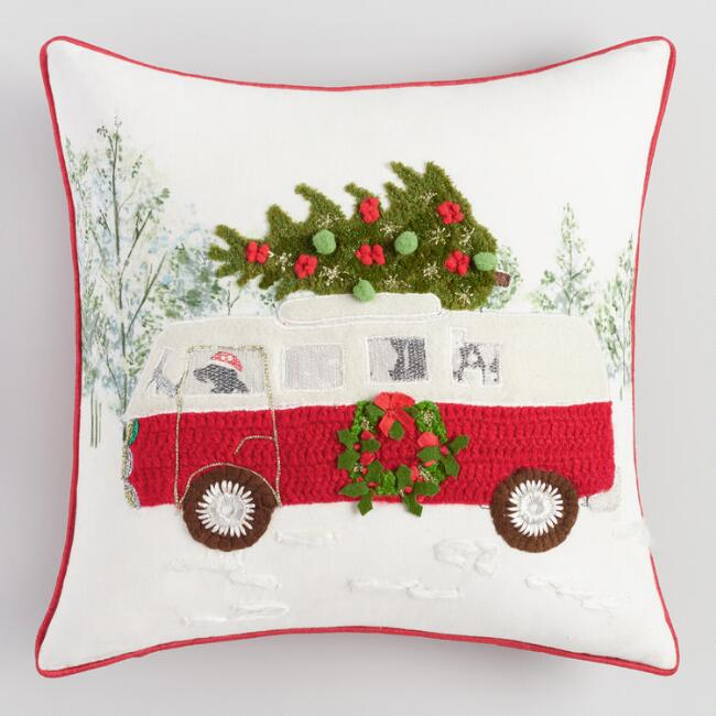 Dog Driving Van Throw Pillow