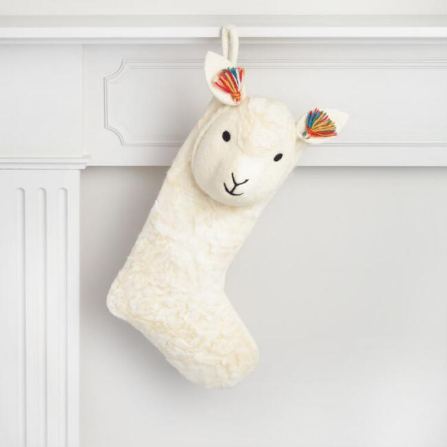 Felt Stuffed Llama Stocking