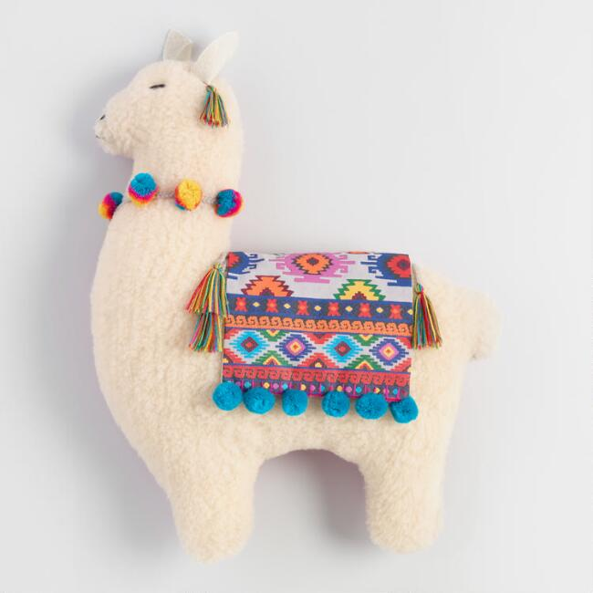 Folkloric Llama Shaped Throw Pillow World Market
