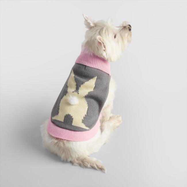 Small Knit Bunny Tail Dog Sweater