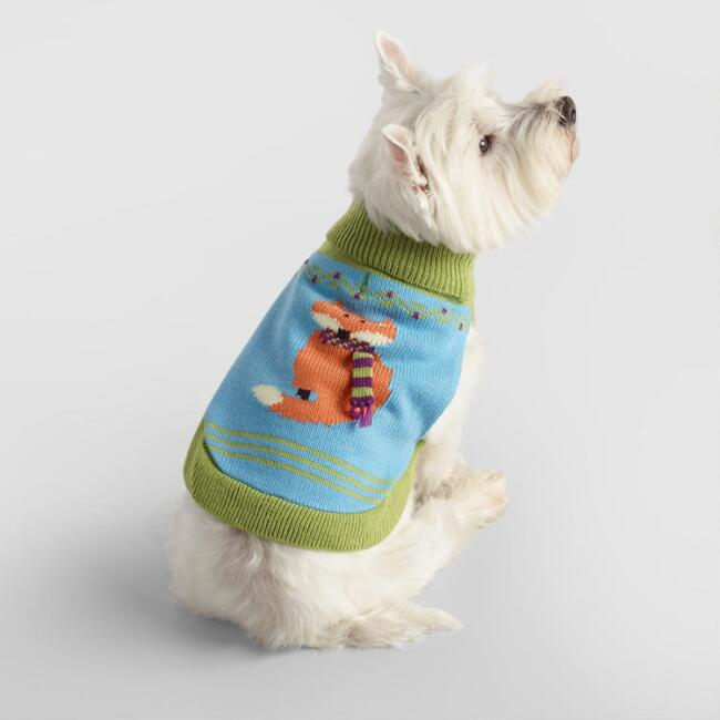 Small Knit Fox in Scarf Dog Sweater