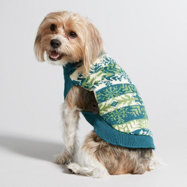 Small Knit Teal Snowflake Dog Sweater