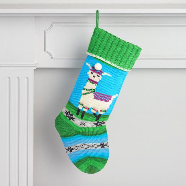 Blue and Green Knit Peace Llama Stocking