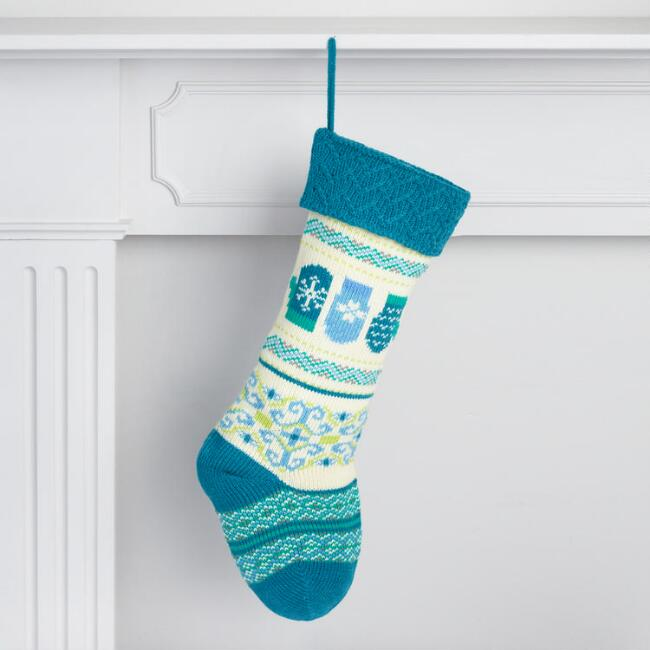 Blue Knit Mitten Stocking