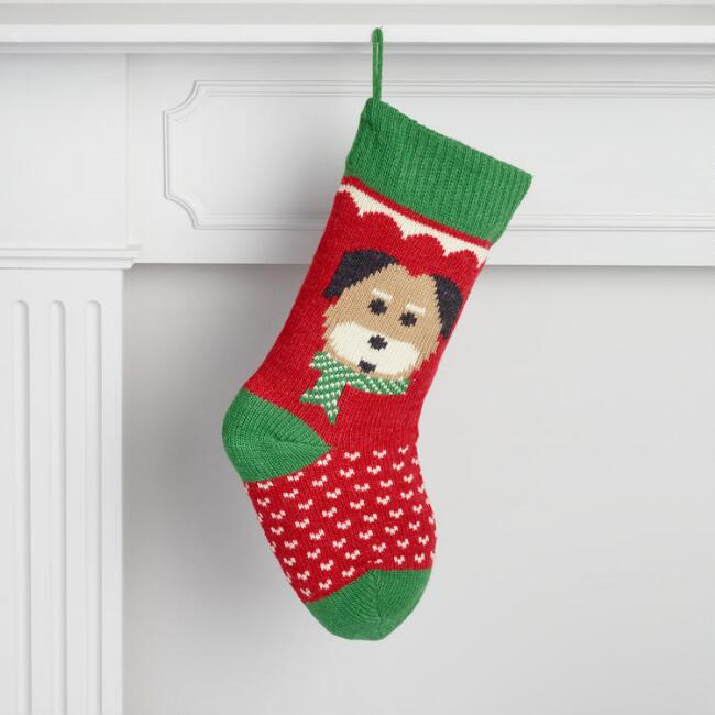 Red and Green Knit Dog Stocking