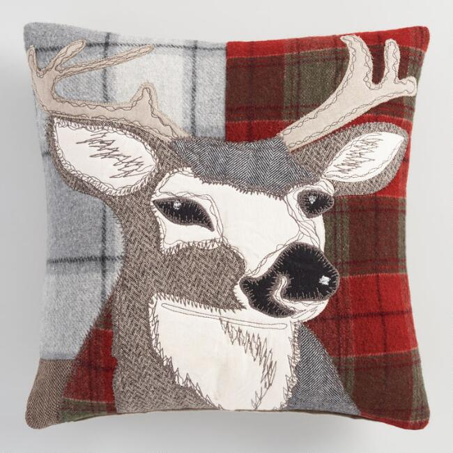 Red Plaid Stag Throw Pillow World Market