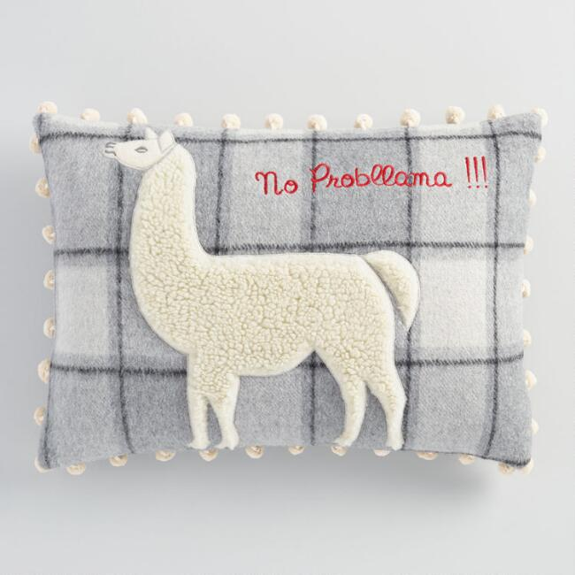Plaid No Probllama Lumbar Pillow