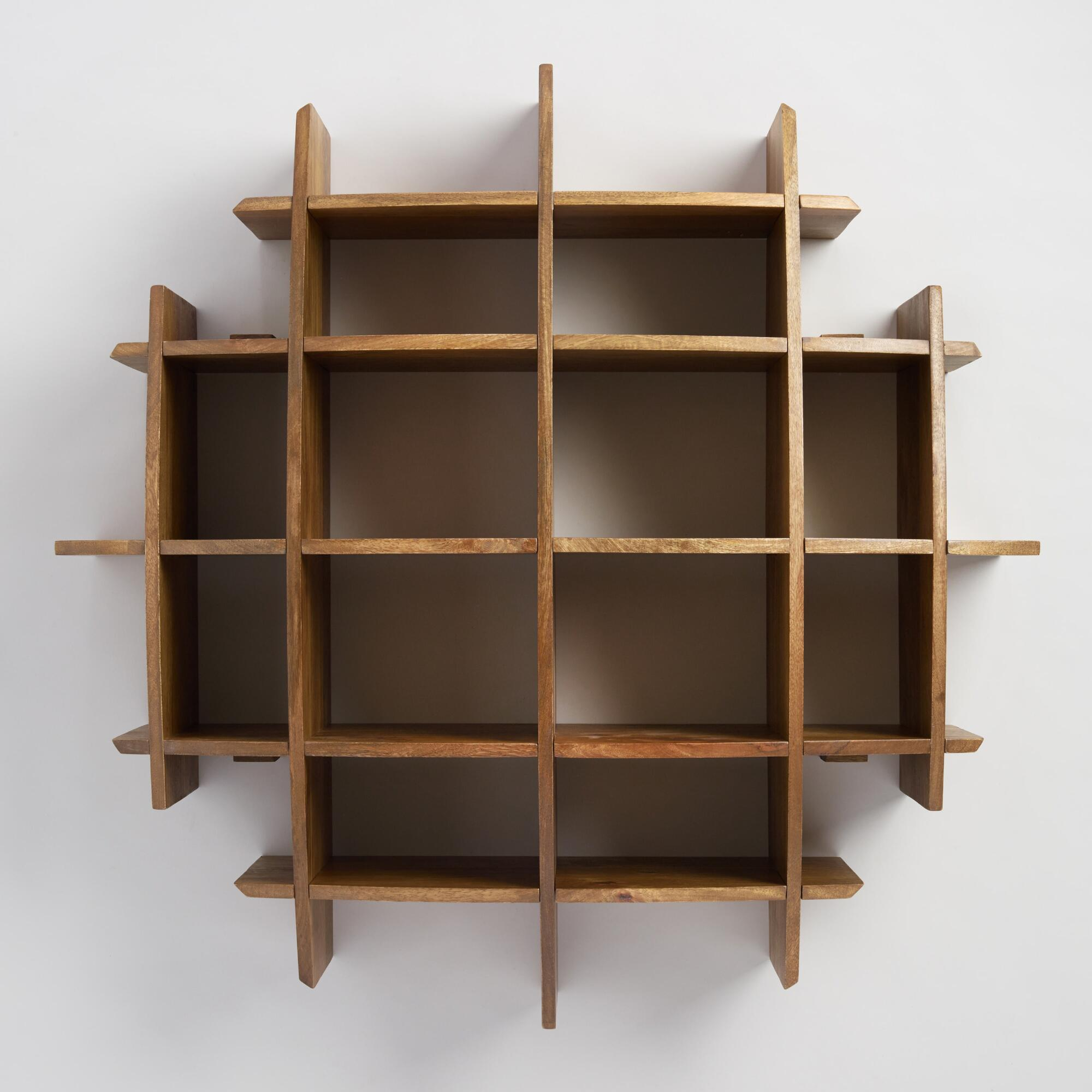 Wall shelves storage and racks world market convex wood wall shelf amipublicfo Gallery
