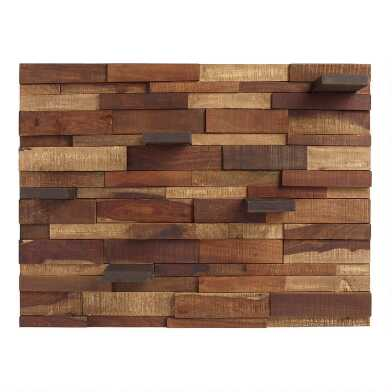 Mosaic Wood Panel with Shelves