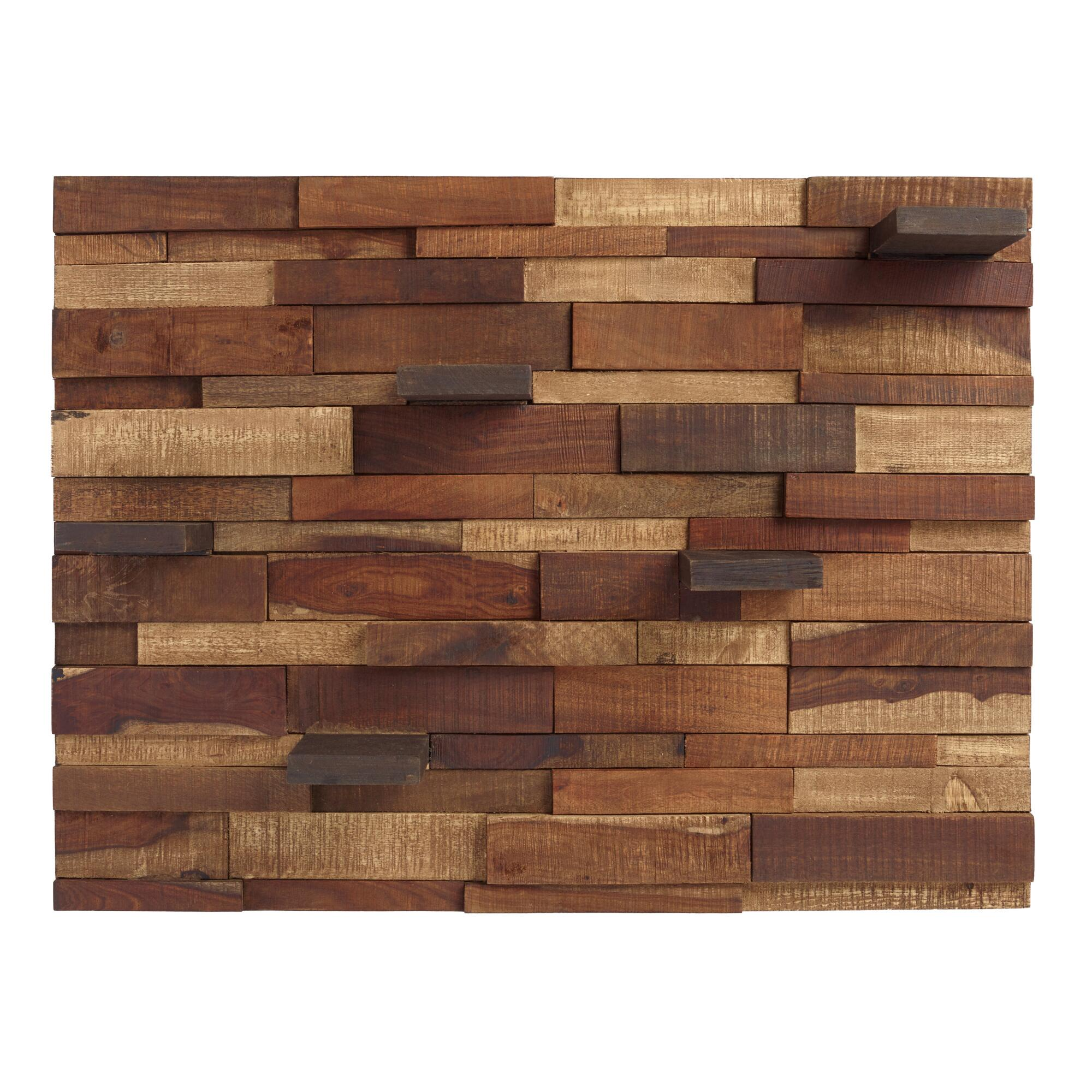 Mosaic Wood Panel with Shelves: Brown/Natural by World Market
