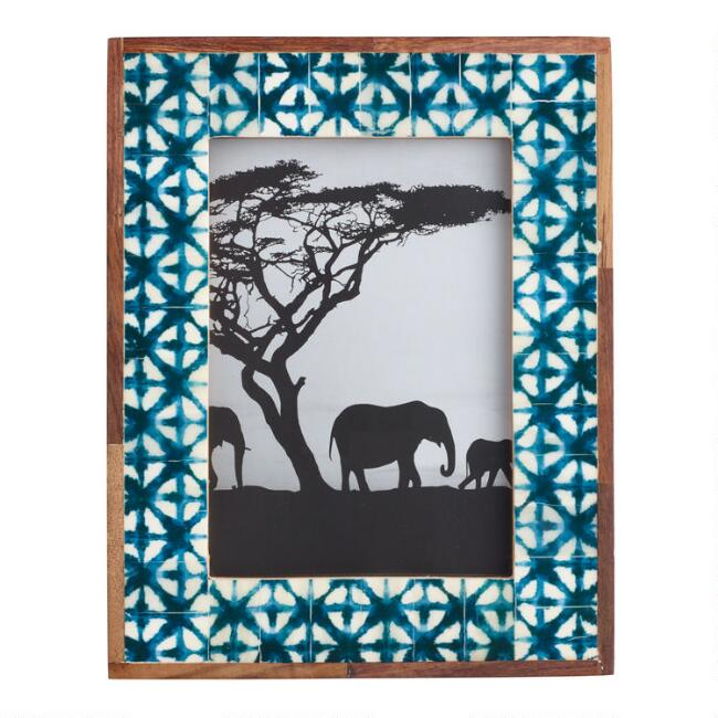 Textile Print Bone and Wood Frame
