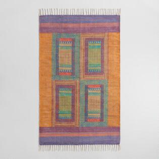 3'x5' Kantha Embroidered Hand Block Print Area Rug