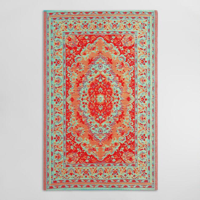 4'x6' Red Persian Style Urban Floor Mat
