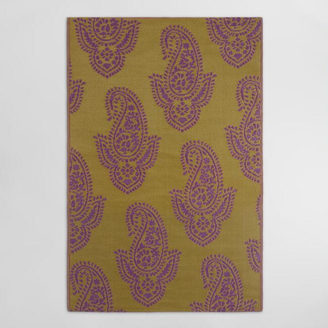 4'x6' Gold Paisley Urban Floor Mat