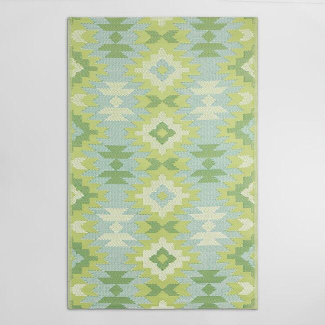 4'x6' Green Kilim Urban Floor Mat