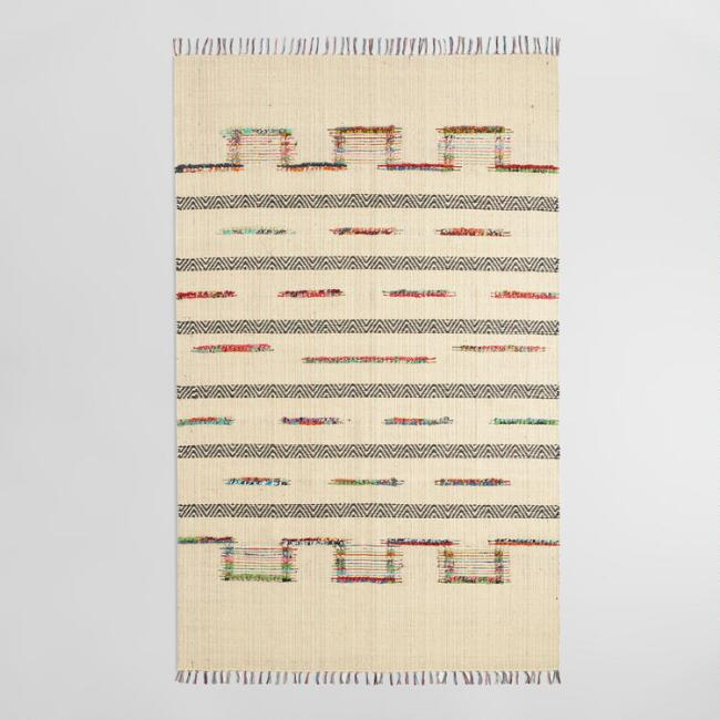 5'x8' Bleached Jute and Woven Chindi Safara Area Rug