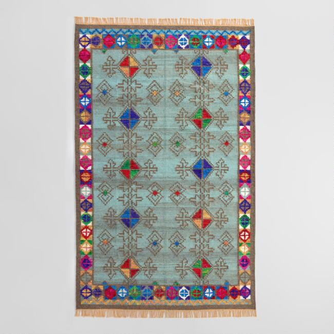 Wool and Recycled Silk Kilim Neelima Area Rug