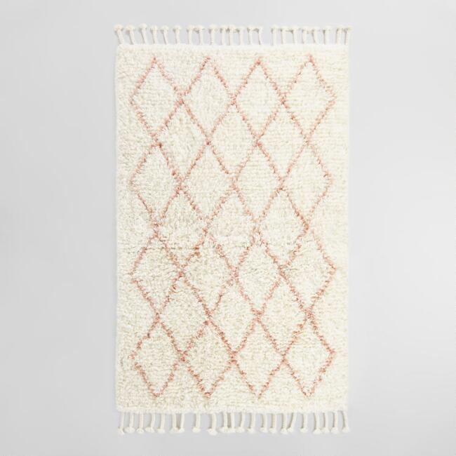 Blush Moroccan Style Trellis Wool Shag Azize Area Rug