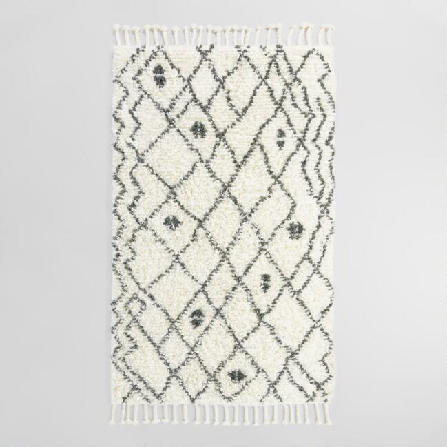 Charcoal Moroccan Style Zaid Wool Shag Area Rug