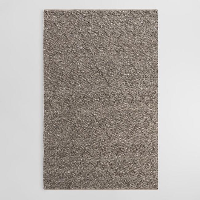 Charcoal Gray Chunky Sweater Wool Reeze Area Rug