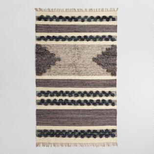 Black And Gray Wool Linen Kilim Inez Area Rug