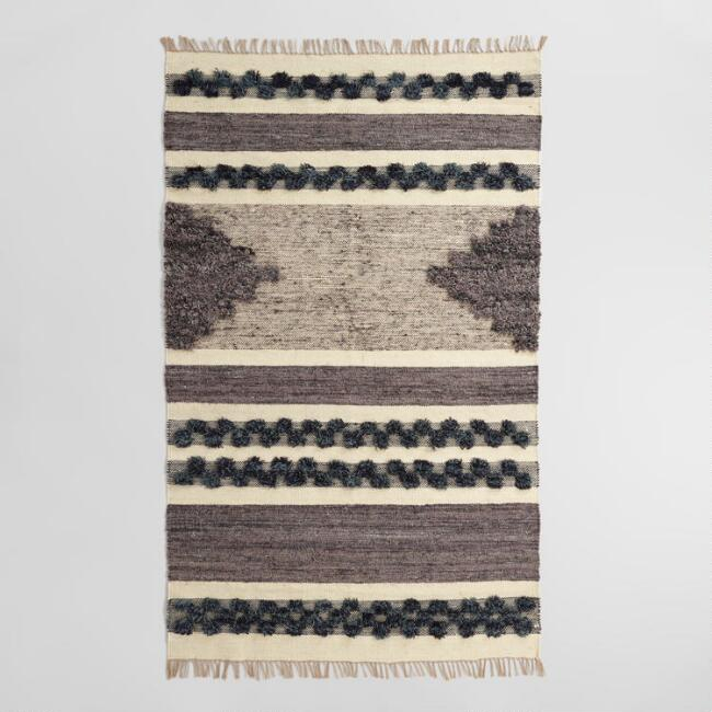 Black and Gray Wool and Linen Kilim Inez Area Rug