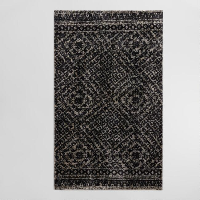 Gray Diamond Print Viscose and Wool Milano Area Rug