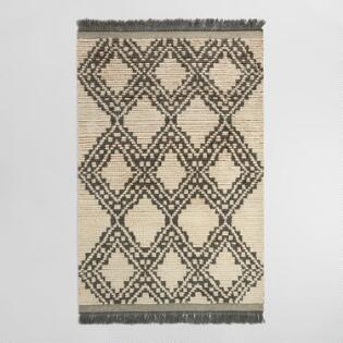 ivory and charcoal moroccan shag kilim makena area rug - Decorative Rugs