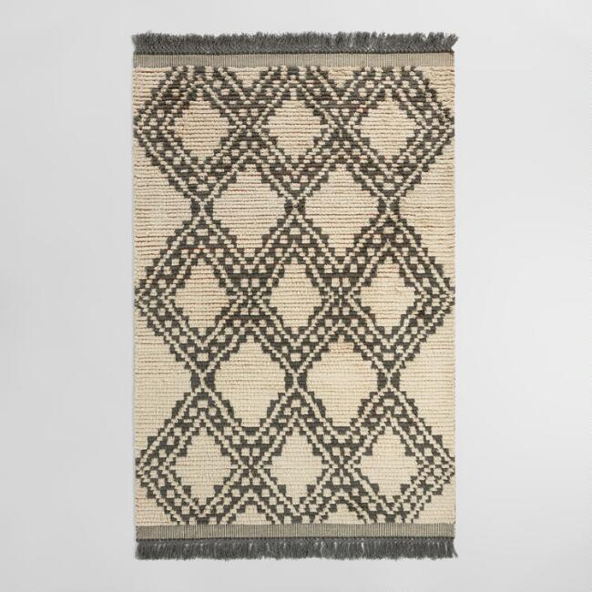 Fresh Ivory and Charcoal Moroccan Shag Kilim Makena Area Rug | World Market ZI89