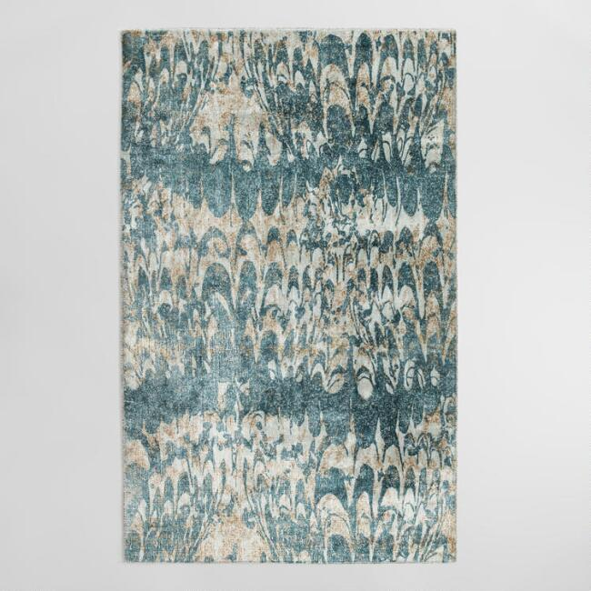 Blue Viscose Silvia Area Rug