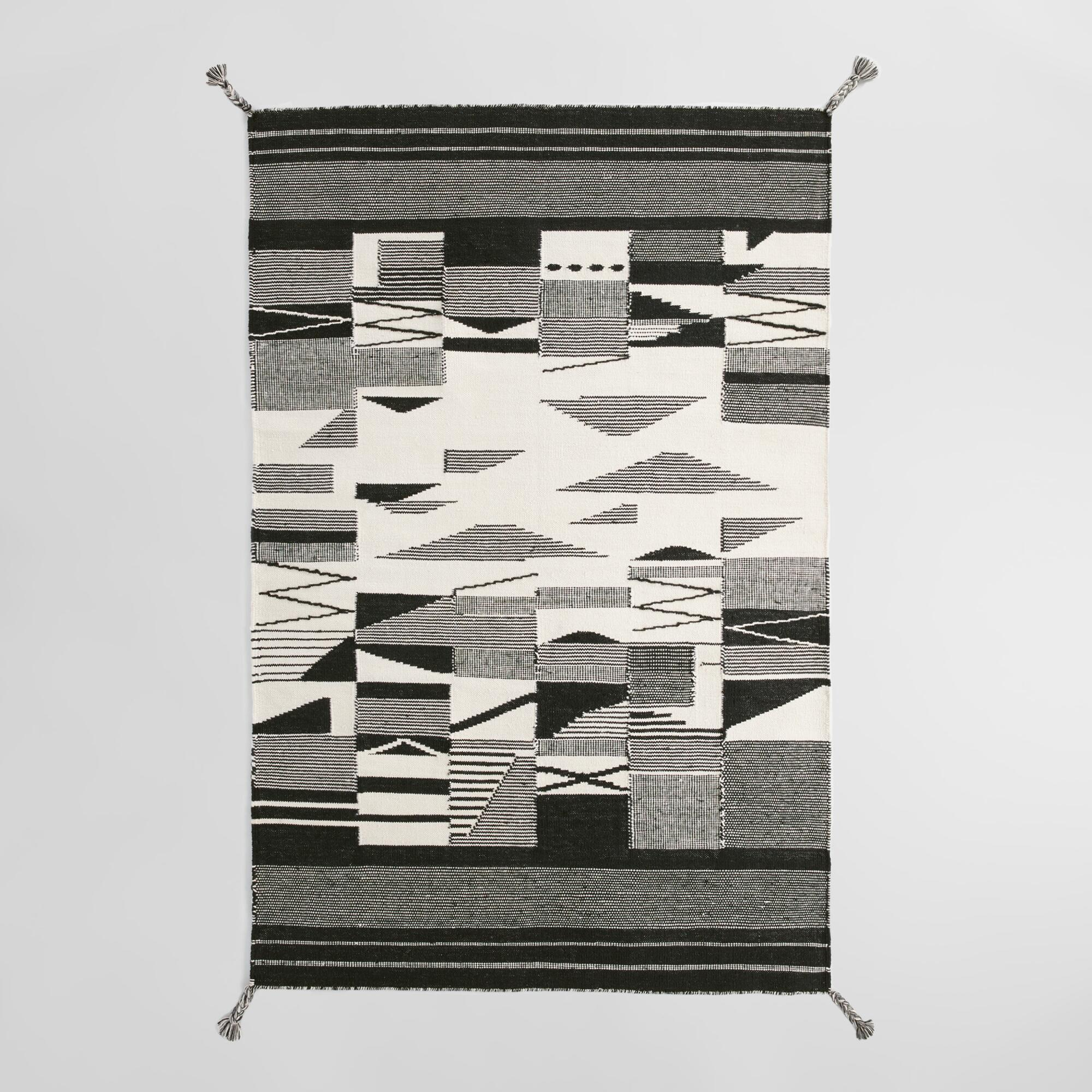 Black and White Kilim Kalei Rug - Polyester - 5' x 8' by World Market 5Ftx8Ft